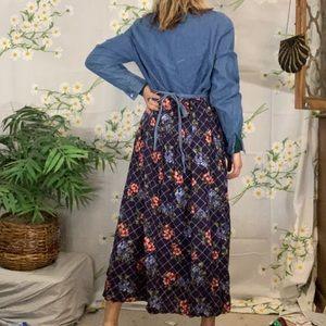 Vintage denim long sleeve maxi dress